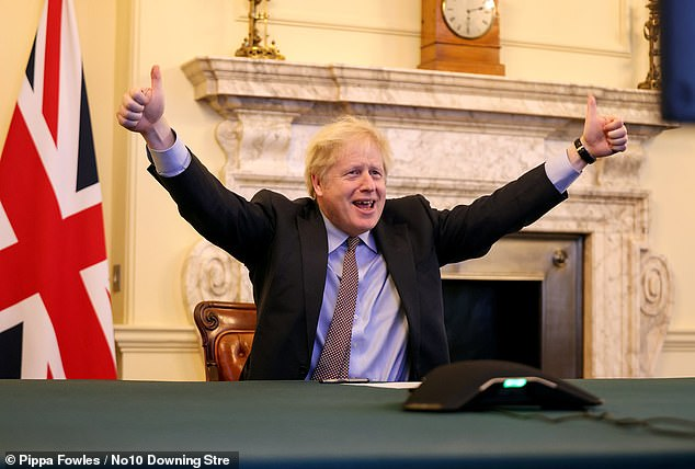 Urging MPs to back the accord struck on Christmas Eve, Mr Johnson (pictured) will claim it resolves 'the old and vexed question of Britain's political relations with Europe, which bedevilled our post-war history'