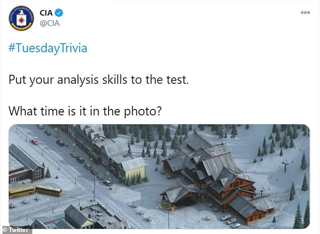TheCIA released a picture depicting a wintry scene asking people to tell the time