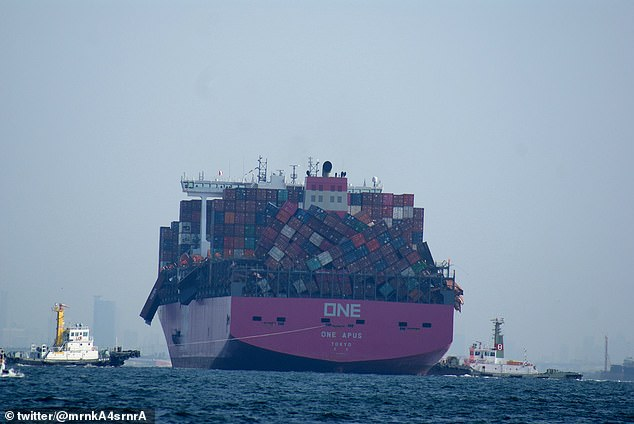 Cargo ship suffers epic losses after 2,000 containers topple over during a storm en route to Japan