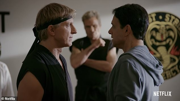 Premiering January 8 on Netflix! Daniel LaRusso (R, Ralph Macchio) and his former nemesis Johnny Lawrence (L, William Zabka) might be teaming up against Kreese (M, Martin Kove) in the trailer for Cobra Kai season three