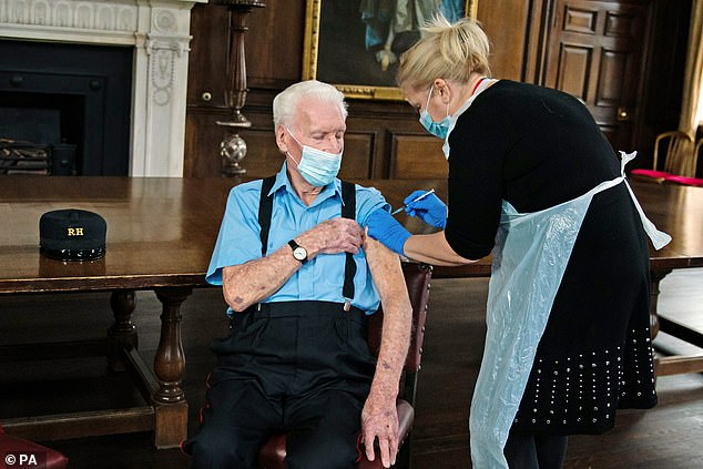 D-Day veteran and Chelsea Pensioner Bob James Sullivan, 98, was injected with the coronavirus vaccine at the Royal Hospital Chelsea on Wednesday, December 23