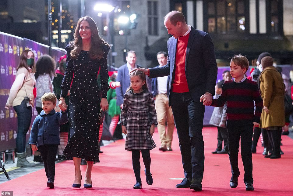 Duke and Duchess of Cambridge give George, Charlotte and Louis attend a West End pantomime