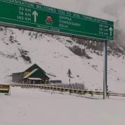 Fresh snow around Atal Tunnel in Manali; highway to Lahaul valley blocked