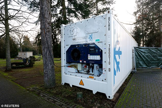 Dead bodies in the German town of Hanau are now being stored in a temporary freezer after morgues overflowed amid a surge in coronavirus deaths