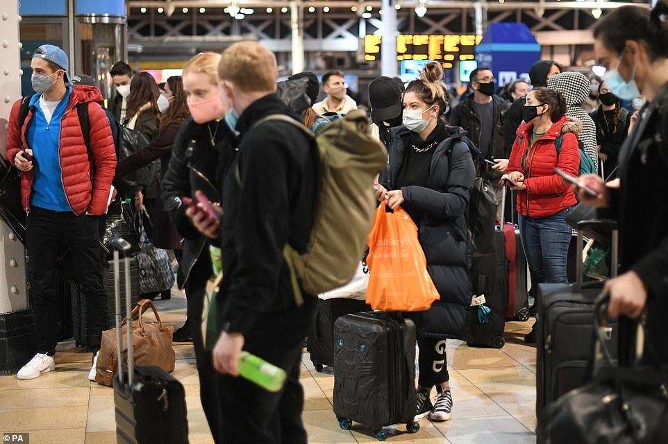Huge queues at train stations as desperate Londoners flee the capital ahead of Tier 4