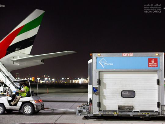 In pictures: Pfizer COVID-19 vaccine arrives in Dubai on Emirates flight