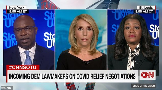 Representatives-elect Cori Bush (right) and Jamaal Bowman (left) refused to say if they would vote for Nancy Pelosi as House Speaker in two years – claiming they are more focused on the recent coronavirus relief