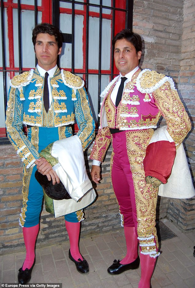 A-list names: Francisco Rivera Ordóñez, 46 and his brother Cayetano, 43, are fourth-generation bullfighters who married into aristocracy, mingle with celebrities and are as 'popular in Spain as film stars and footballers'. Pictured, the brothers in 2016