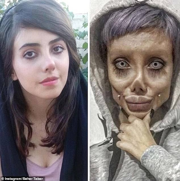 Iranian 'Zombie Angelina Jolie' 'is FREED on bail' just days after being jailed