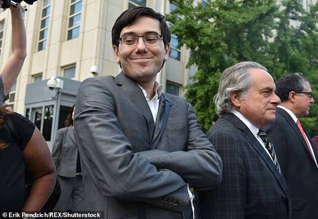 Smythe quit her job and left Arcoleo to be with Shkreli, dubbed 'the most hated man in America', after covering his arrest.Shkreli is pictured with lawyer Benjamin Brafman in 2017