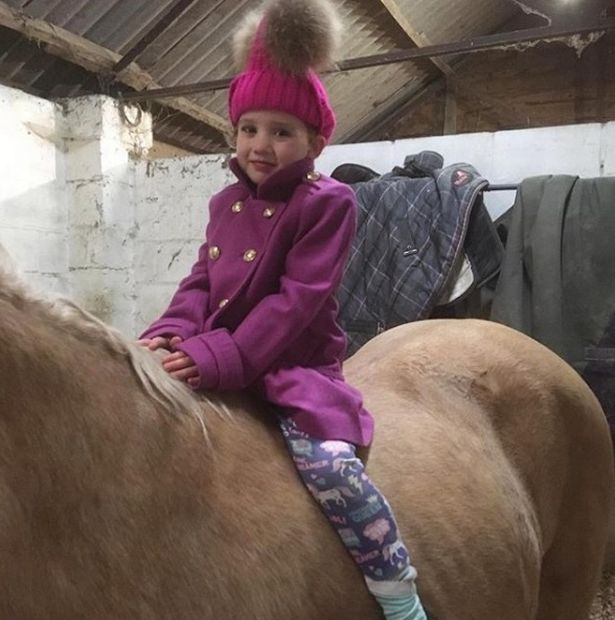 Keen equestrian Katie has a house full of animals; here her daughter Bunny is seen on her horse