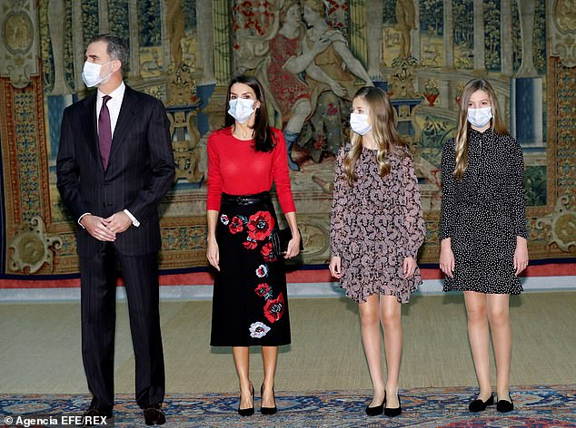 King Felipe VI and Queen Letizia are joined by their daughters Princesses Leonor and Sofia