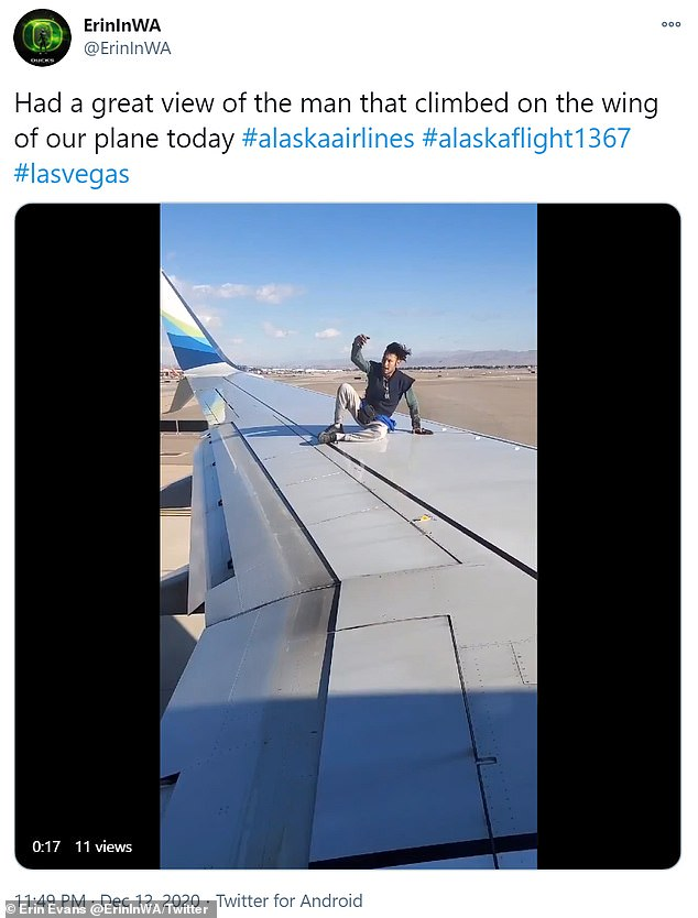 Las Vegas man arrested after climbing onto the wing of Alaska Airlines flight
