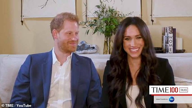 Meghan Markle has adopted a 'presidential and persuasive' voice, while Prince Harry (pictured together) is 'less confident' but 'is keen to get it all right for his wife' in the trailer for their new Spotify podcast, a behaviour expert has claimed