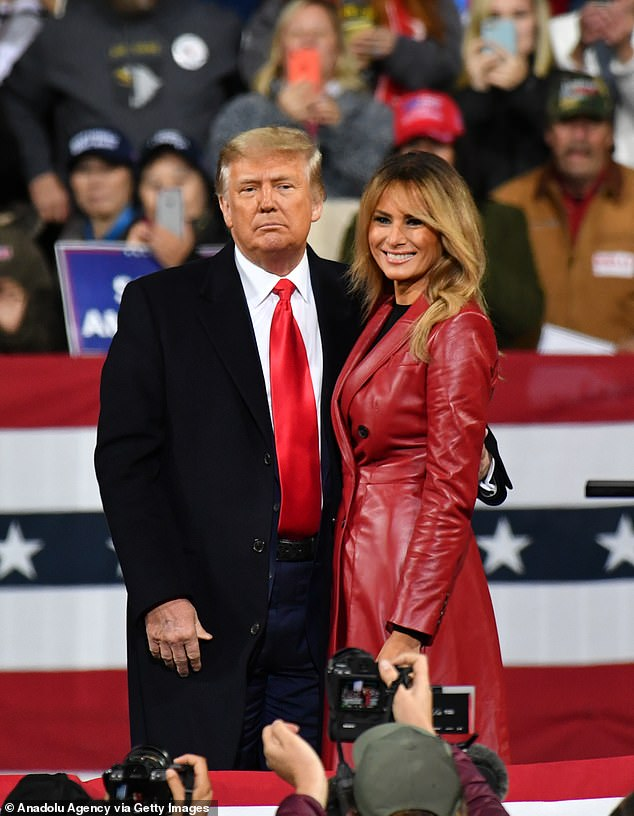 Melania Trump looks sizzling in $6,200 Alexander McQueen red leather coat