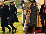 Melania ditches her thigh high boots as she leaves chilly DC for Christmas in the Florida sun