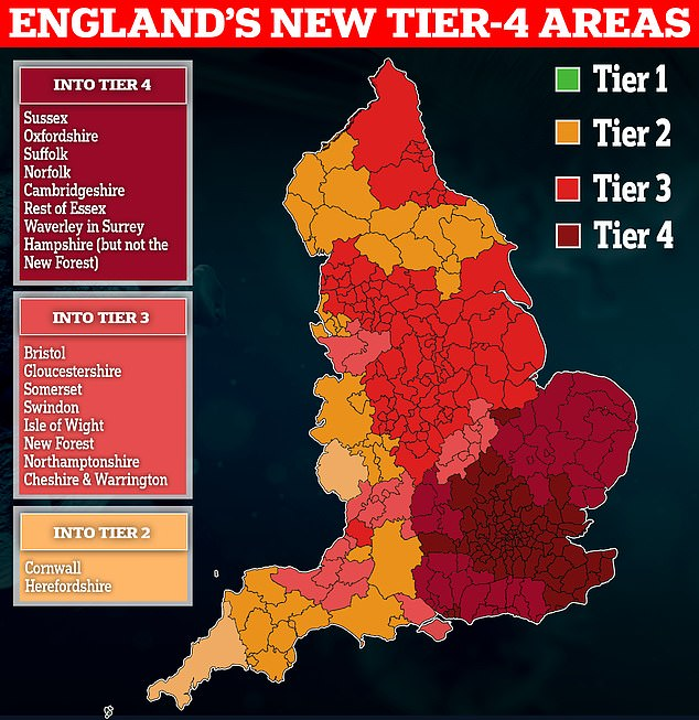 Millions more Britons face being plunged into Tier 4 lockdown this week
