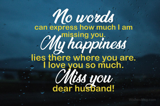 romantic miss you husband message