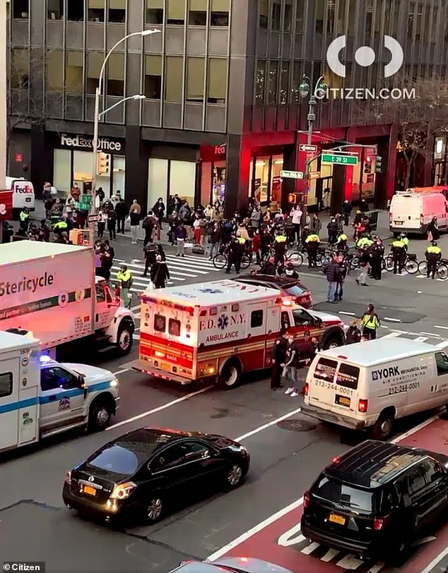 Several ambulances and emergency vehicles were seen at East 39th Street and Lexington Avenue in Manhattan just after 4pm on Friday