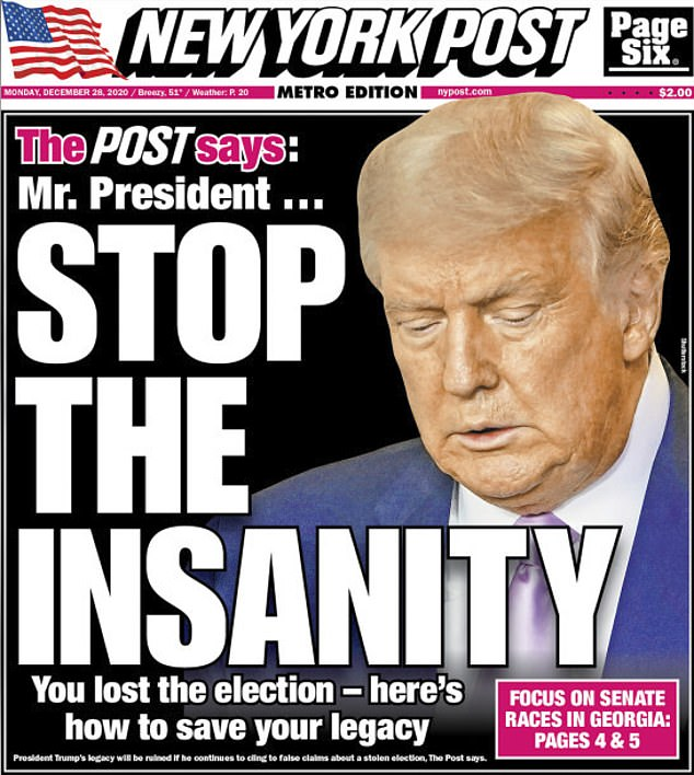 New York Post turns on Trump in scathing editorial telling him to give up election challenges