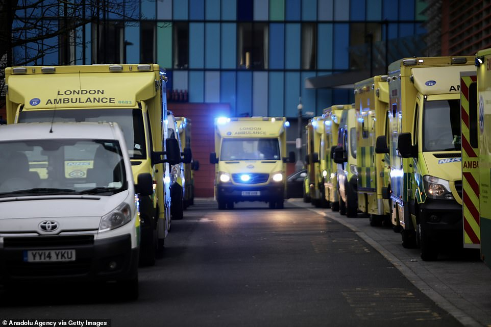A great number of ambulances wait outside London Royal Hospital as the number of coronavirus cases surge due the new variant that considerably more transmissible than previous strains in London, December 29