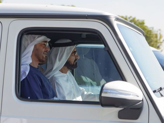Photos: Mohammed Bin Rashid, Mohamed Bin Zayed visit Al Marmoom Lakes in Dubai