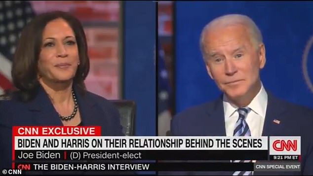 Biden made the strange quip Thursday while sitting with Harris and CNN's Jake Tapper, who asked how the two handle disagreements