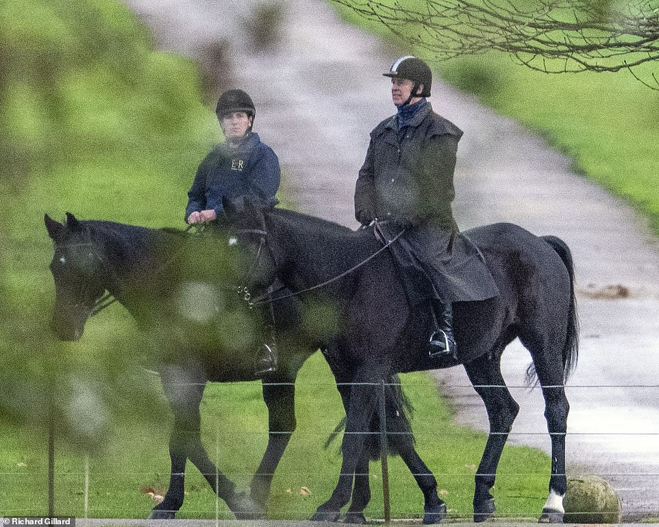 Prince Andrew is spotted on horseback as explosive dossier blows hole in Pizza Express excuse