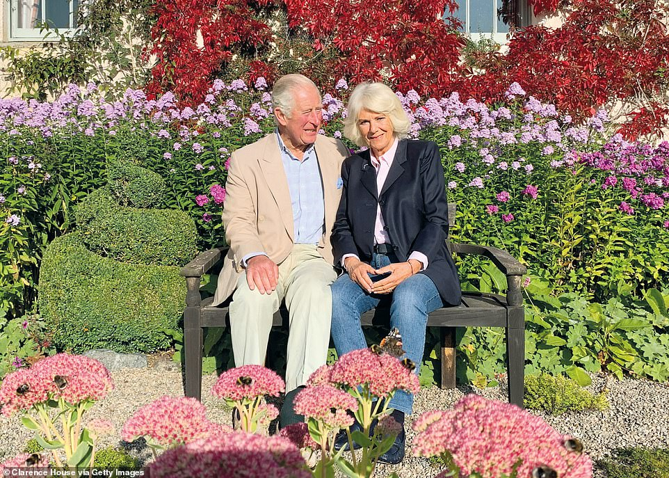 Prince Charles and Camilla relax in the autumn sunshine at Birkhall in snap for 2020 festive card