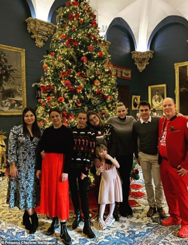 Princess Charlene of Monaco puts on a united front as she shares festive snap with husband's family