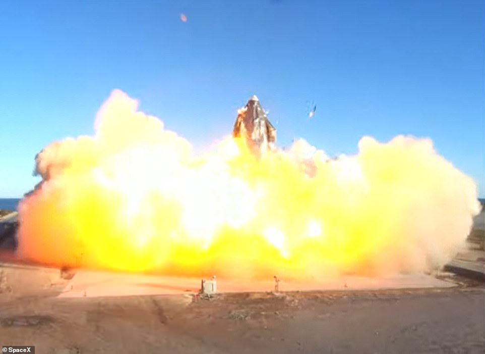 SpaceX's Starship rocket EXPLODES into a ball of fire the moment it lands on the launch pad