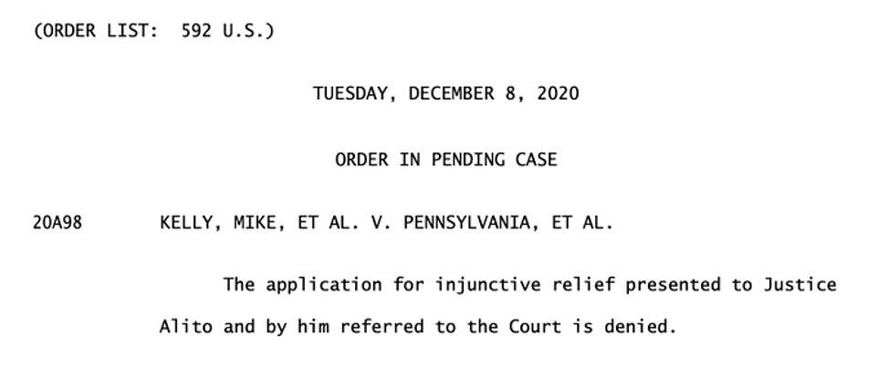 Supreme Court REJECTS Republican demand to overturn Joe Biden's victory in Pennsylvania