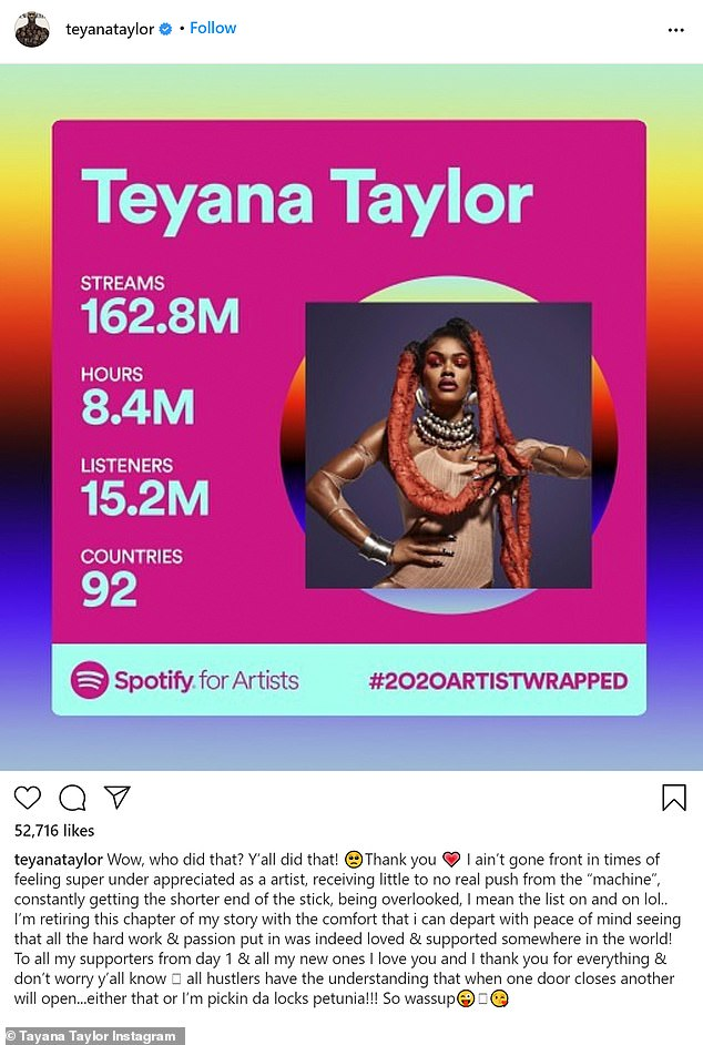 Teyana Taylor, 29, announces her retirement from the music industry