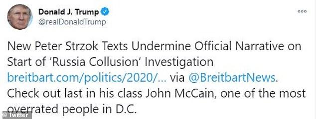 Trump blasts John McCain after new texts from FBI lover Peter Strzok