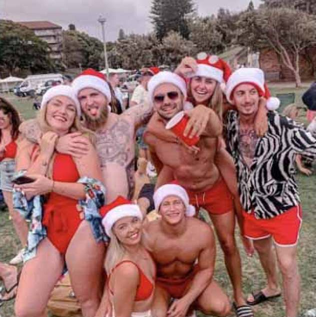 One British woman at the party, Elisha Palfrey, sent this photo to her father showing the Christmas festivities at Bronte Beach which have angered Australians
