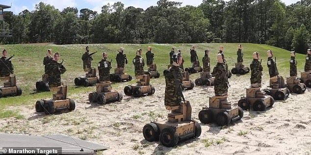 Camp Lejuene, a Marine Corps base in North Carolina, has adopted the 'range of the future' known as G-366, which unleashes autonomous robots in the field that 'fall over' when shot, charge at shooters and curse at them in 57 different dialects