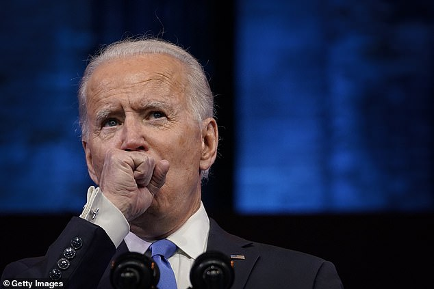 President-elect Joe Biden¿s hoarse voice and persistent coughing during his speech Monday night sparked concern on social media, but he later clarified he's fighting a slight cold