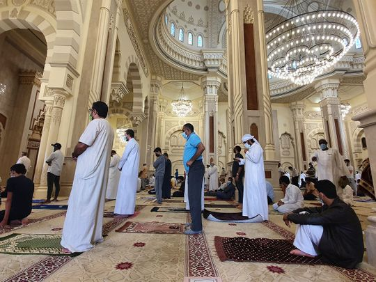 Worshippers arrive at mosques across UAE for Friday prayers
