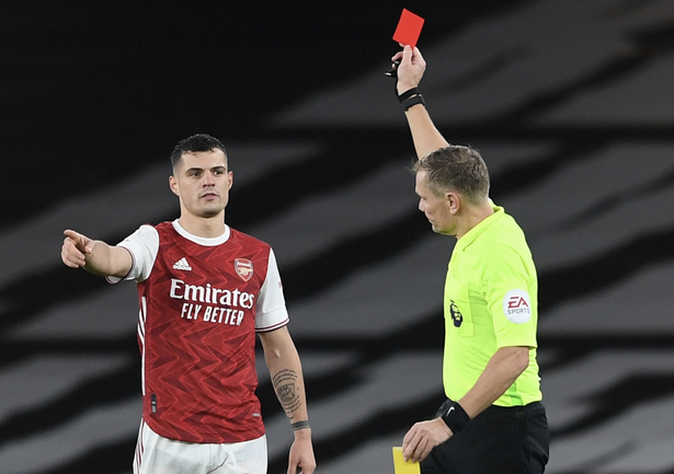 Granit Xhaka has received 53 yellow and three red cards while playing for Arsenal