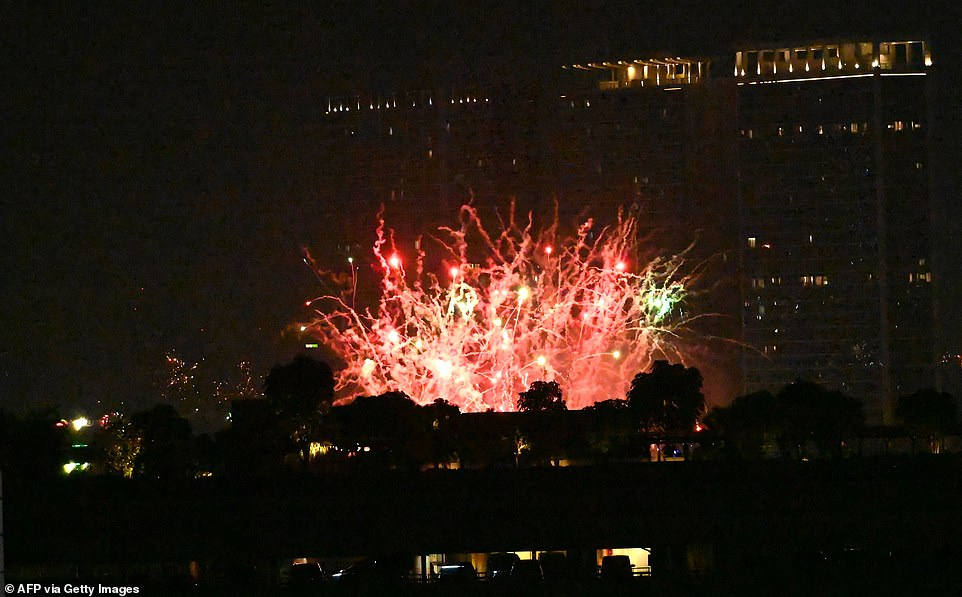 INDONESIA: Celebrations tonight in Jakarta, as an array of red and yellow fireworks light up the sky