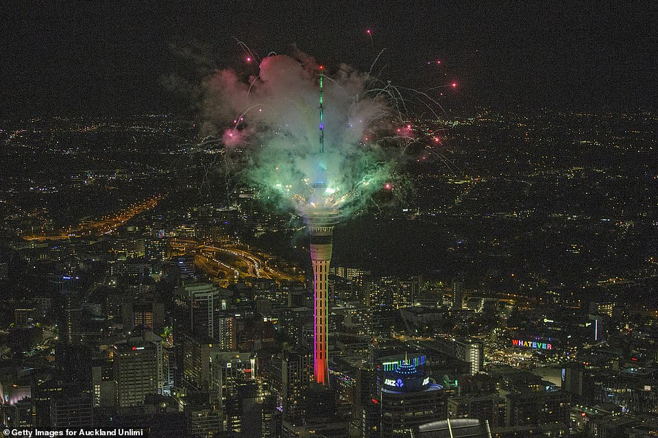 AUCKLAND: A spectacular firework display erupts from the SkyTower as the first major nation to cross the threshold in to 2021 became almost the only one to hold full-throated New Year festivities
