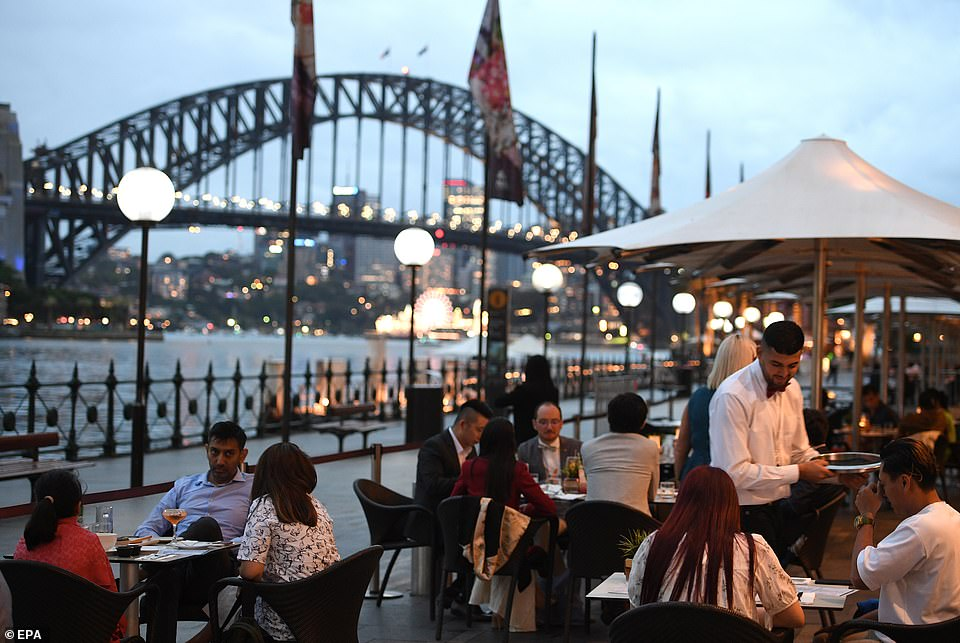 SYDNEY: People have dinner on the waterfront in Australia, one of the first nations to cross the threshold of 2021 and also one of the few where the country's relative success against the pandemic means that some degree of festivities can take place
