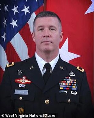 West Virginia Adjutant General James Hoyer (above), who is heading up the state's vaccine rollout programme, blamed what he described as a 'breakdown in the process' and 'a few human errors' for the mistake