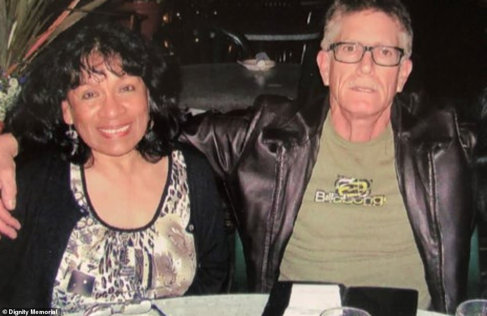 The driver, Jeffrey Hammer, died from ill health in 2018.Ultimately, insurers found Grossman and Hammer (pictured with his wife) were both 50% at fault for the accident.