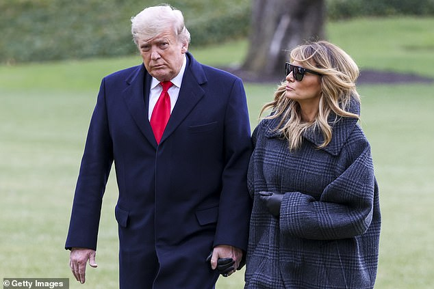 McConnell's refusal to contest the Electoral College results has infuriated President Donald Trump (pictured arriving at the White House with Melania on Thursday)