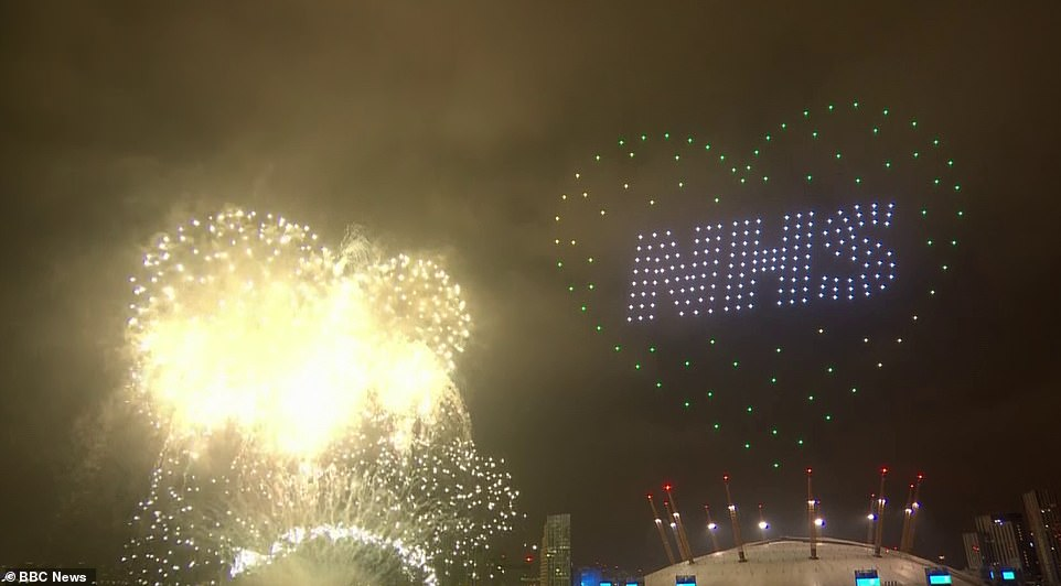 The 300 drones lit up the night's sky writing NHS with a green heart around it as fireworks erupted by The Millennium Dome in London