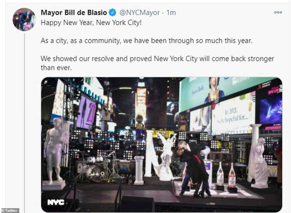 After midnight, de Blasio took to Twitter to wish his residents a happy new year and praised their resilience during such a year