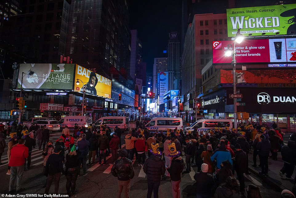 However, a few dozen people did gather near Times Square Thursday night on 50th Street