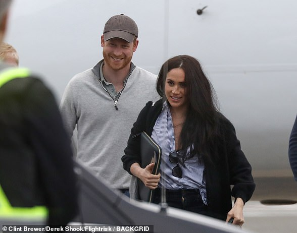 Prince Harry and Meghan Markle are seen as they arrived back in Canada after a presumed business meeting in the state