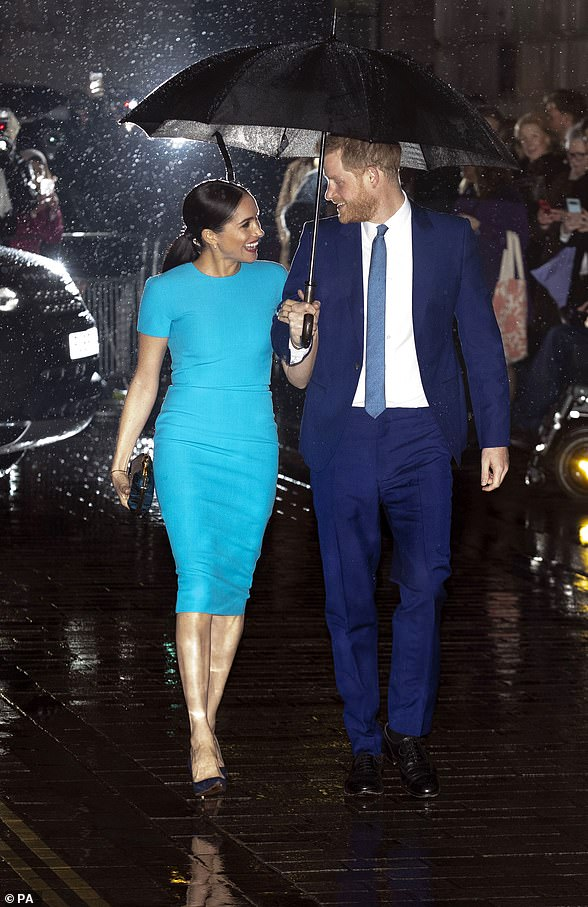 Meghan made a splash in a electric blue gown as she joined Prince Harry for the Endeavour Award's on Thursday evening